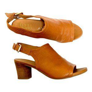 Franco Sarto Sz 7 Leather Peep Toe Heeled Sandals